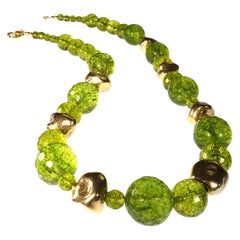 Gemjunky Sparkling Green Peridot and Golden Nugget Necklace