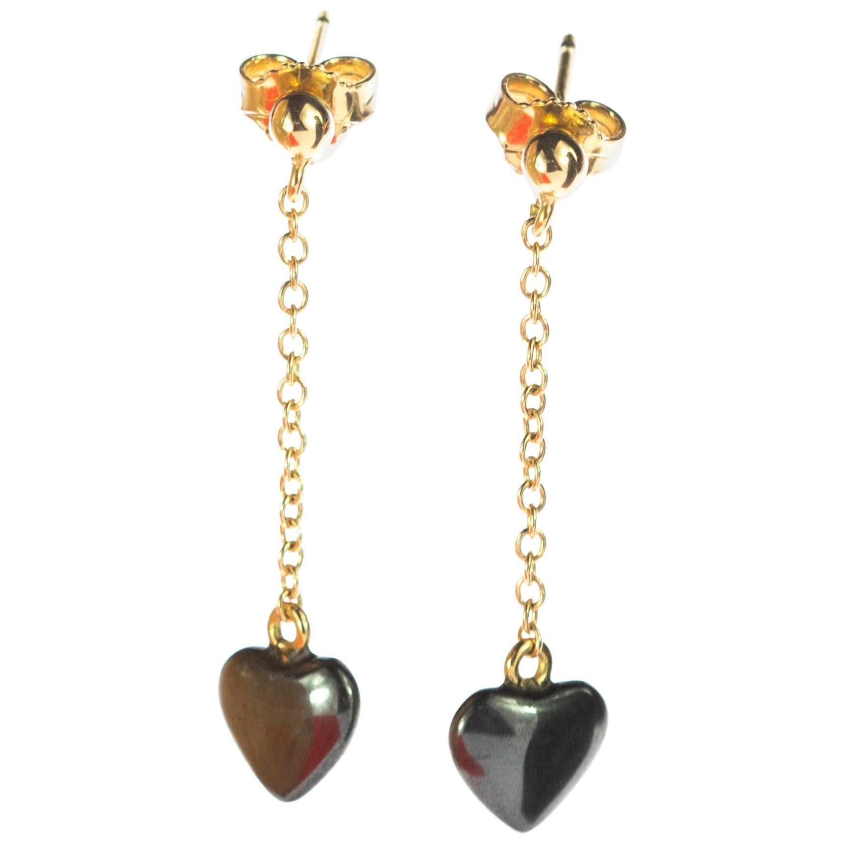 Sparkling Heart Hematite Yellow Gold Dangle Valentine's Day Drop Earrings