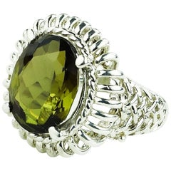 Sparkling Oval Green/Brown Andalusite Set in Ornate Sterling Silver Ring