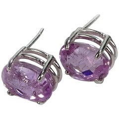 Sparkling Oval Kunzite Sterling Silver Stud Earrings