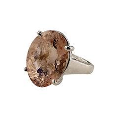 Sparkling Oval Morganite Set in Sterling Silver Ring