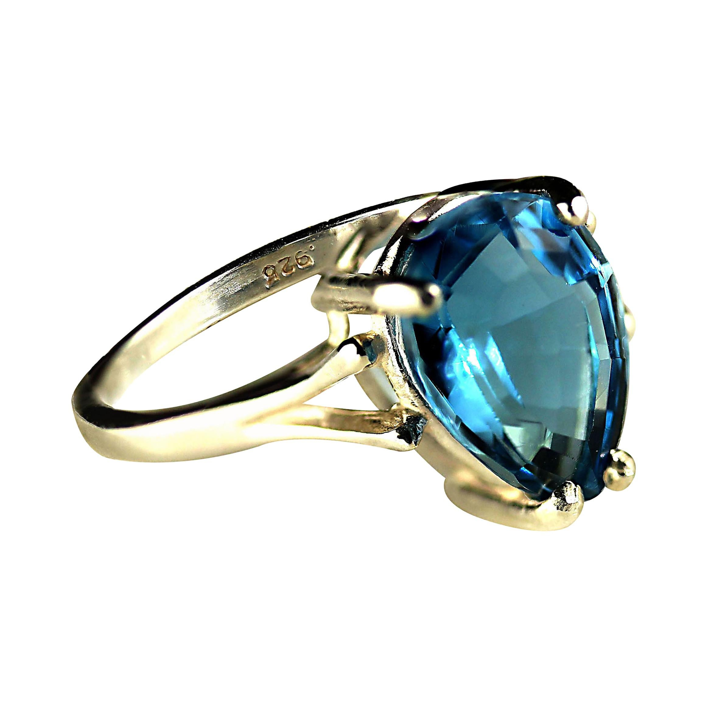 Sparkling Pear Shape Blue Topaz in Sterling Silver Cocktail Ring