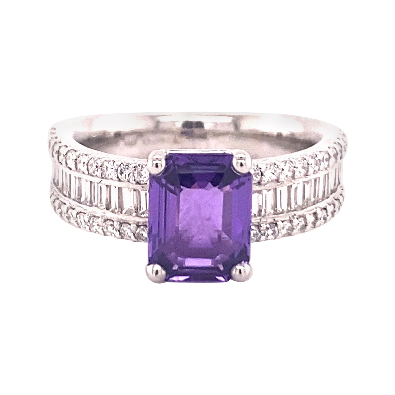 Sparkling Purple Sapphire Ring with Diamonds Set in Platinum 950