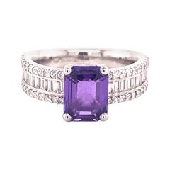 Sparkling Purple Sapphire Ring with Diamonds Set in Platinum 950