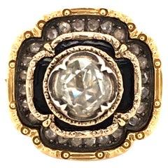 Sparkling Rose Cut Diamond Ring with Black Enamel