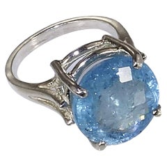 Sparkling Round Aquamarine and Sterling Silver Ring March Birthstone
