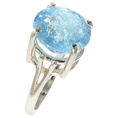 Gemjunky Sparkling Round Aquamarine and Sterling Silver Ring March Birthstone