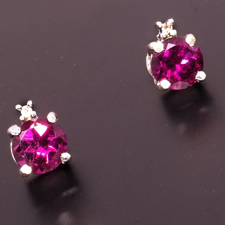 Round Cut Sparkling Round Rhodolite Garnet Stud Earrings With Diamond Accents For Sale