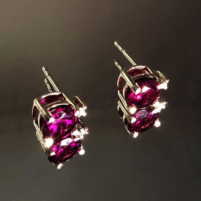 Sparkling Round Rhodolite Garnet Stud Earrings With Diamond Accents In New Condition For Sale In Tuxedo Park, NY