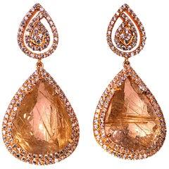 Sparkling Rutilated Quartz and Cambodian Zircon Swinging Dangle Earrings