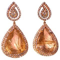 Sparkling Rutilated Quartz & Cambodian Zircon Swinging Dangle Earrings