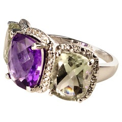 Gemjunky Sparkling Three-Gem Cocktail Ring of Amethyst and Praziolite in Silver