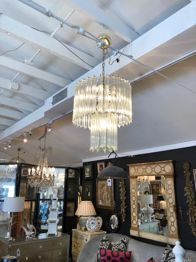 Sparkly and Chic Venini Style Mid-Century Modern Chandelier by Camer For Sale 1