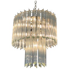 Sparkly and Chic Venini Style Mid-Century Modern Chandelier by Camer