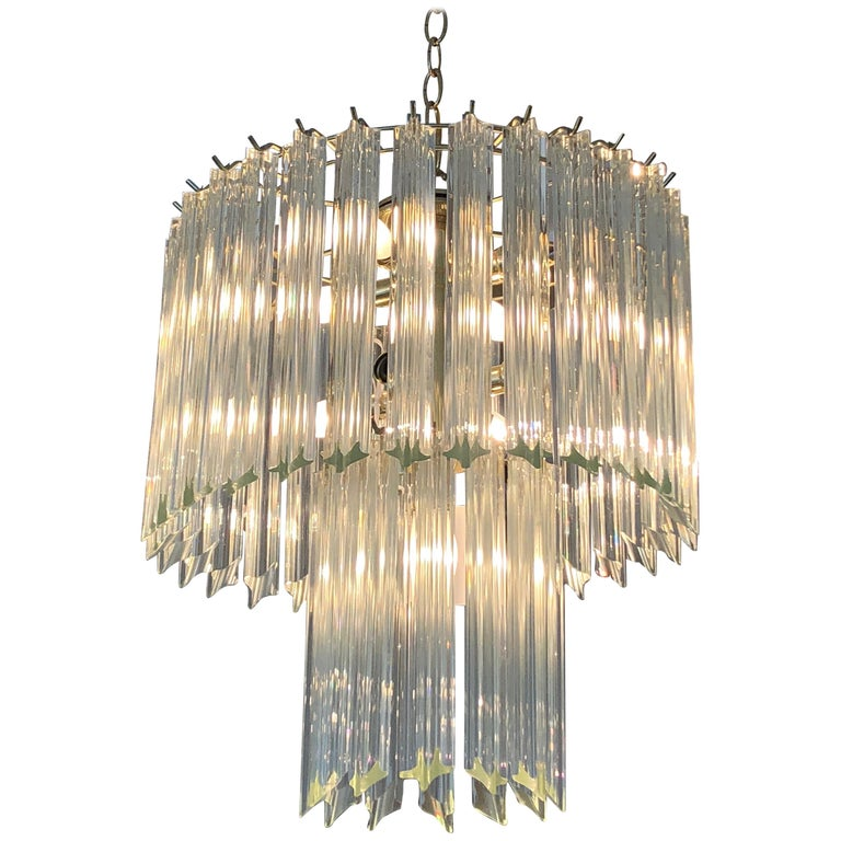 Sparkly and Chic Venini Style Mid-Century Modern Chandelier by Camer For Sale