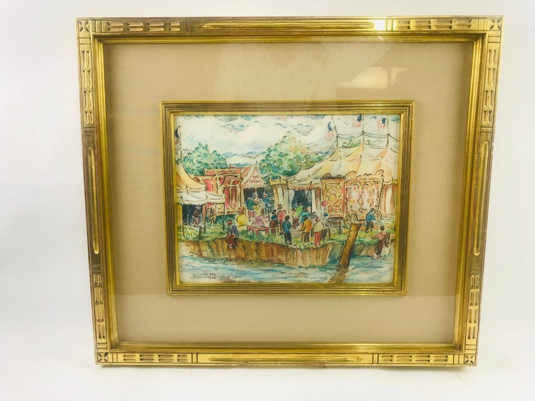 An exceptional mixed medium on paper by listed artist Reynolds Beal. A highly detailed and crisp clear depiction of a small town fair, bursting with life and color, this small corner of land becomes the center of the soul, where all of ones