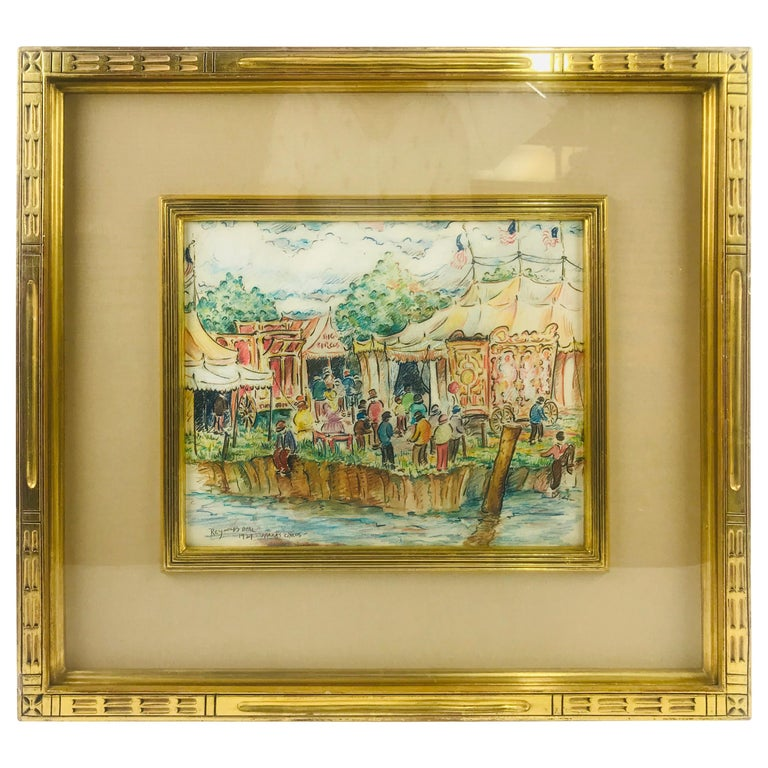 """""""Sparks Circus"""" 1921 Mixed Medium on Paper by Artist Reynolds Beal For Sale"""