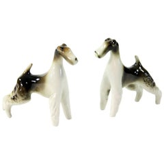 Sparring Foxterriers, Set of Two Dog Sculptures, Royal Dux, circa 1960