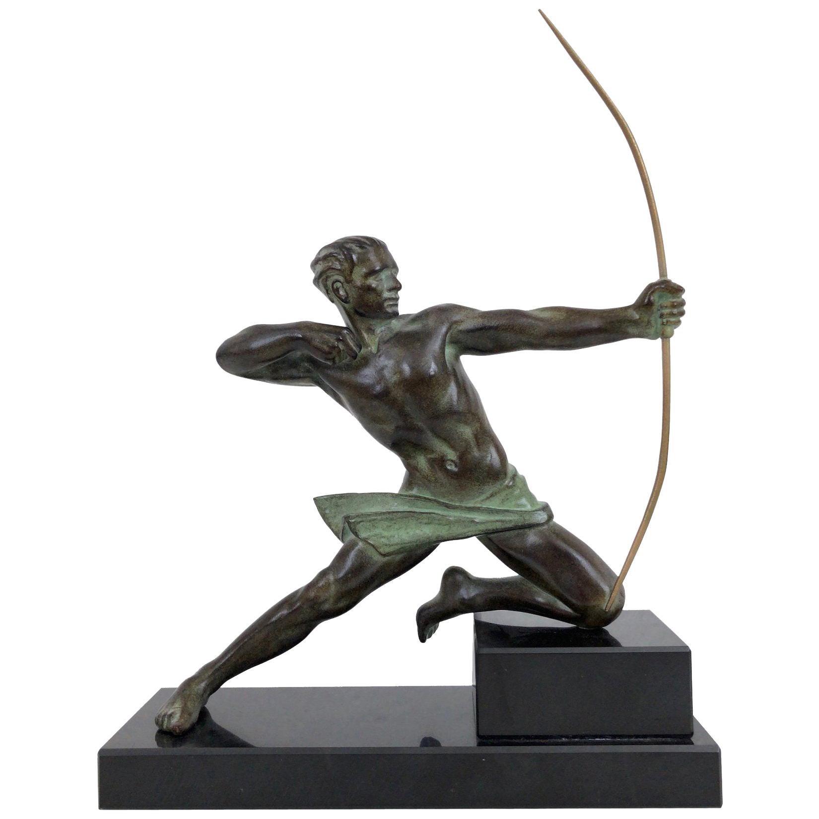 Spartiate by Max Le Verrier Spartan Archer Warrior Sculpture in Spelter