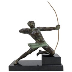 Spartiate by Max Le Verrier Spartan Archer Warrior Sculpture in Spelter