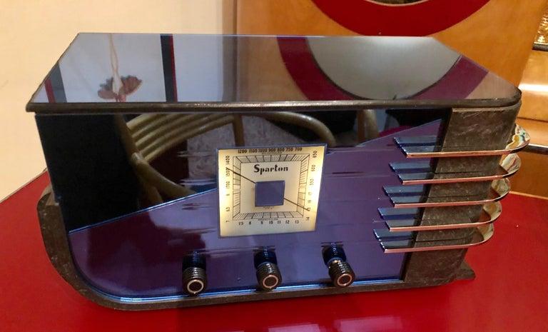 Mid-20th Century Sparton Blue Mirror Radio 1936 Art Deco Walter Dorwin Teague Model 557 For Sale