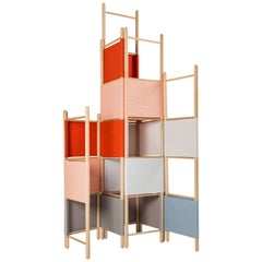 Spatial Partitions/Room Divider w/ Shelves, Natural Wood Ed. by Rive Roshan