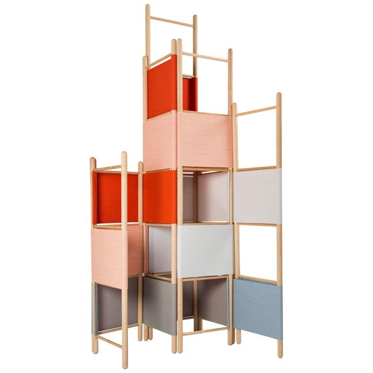 Spatial Partitions/Room Divider w/ Shelves, Natural Wood Ed. by Rive Roshan For Sale