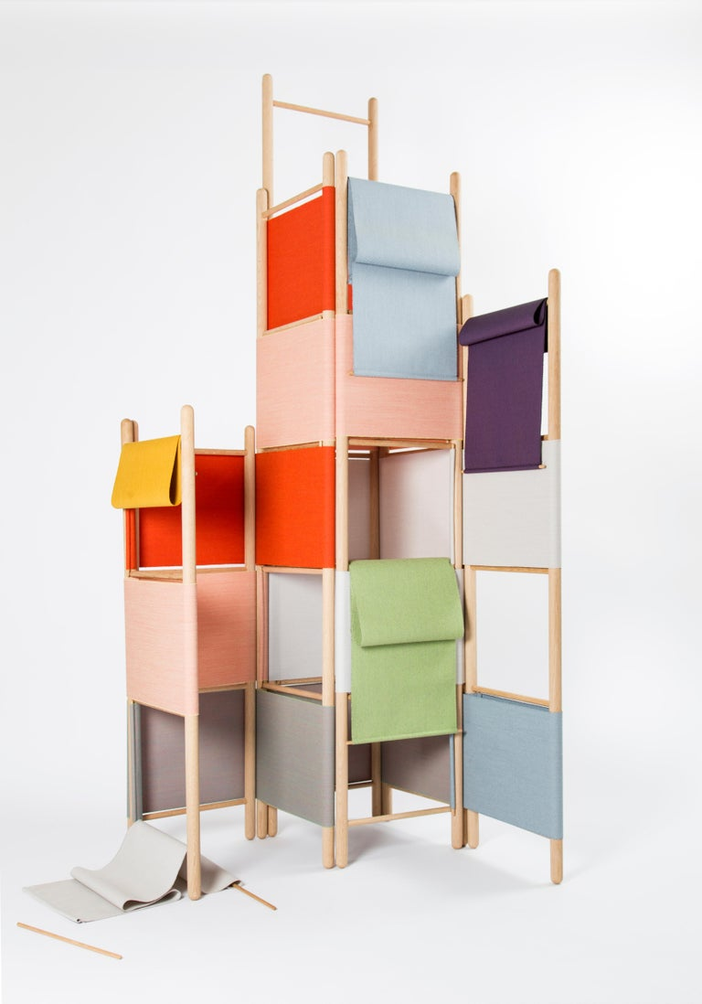 Spatial screen partitions with shelves, loom bound, natural wood edition