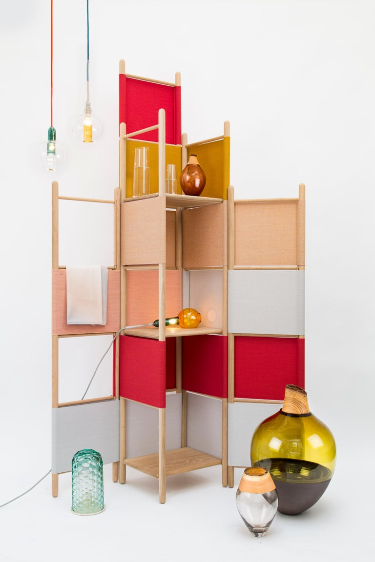 Minimalist Spatial Partitions/Room Divider w/ Shelves, Natural Wood Ed. by Rive Roshan For Sale