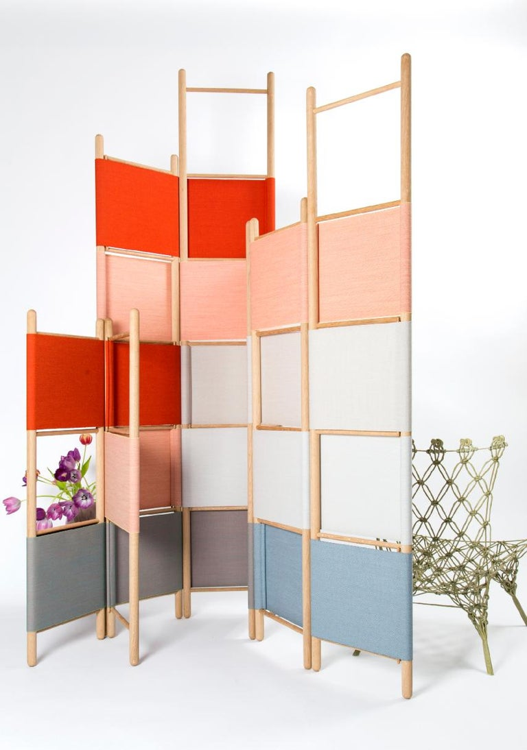 Fabric Spatial Partitions/Room Divider w/ Shelves, Natural Wood Ed. by Rive Roshan For Sale