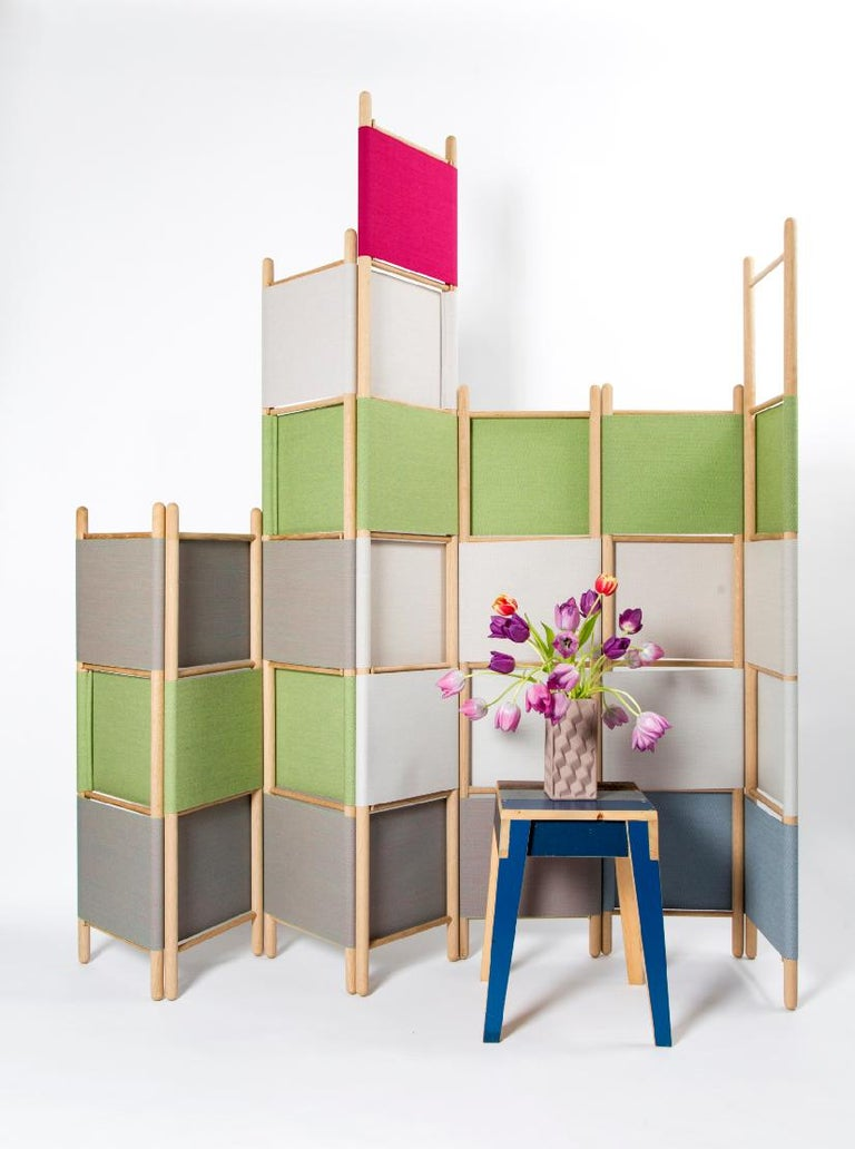 Spatial Partitions/Room Divider w/ Shelves, Natural Wood Ed. by Rive Roshan For Sale 1