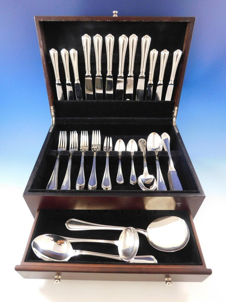 Exquisite Spatours by Christofle France silver plated flatware set, 57 pieces. Great starter set! This set includes:  Six knives, 9