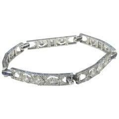 Spaulding Gorham Art Deco Platinum Diamond and Sapphire Bracelet