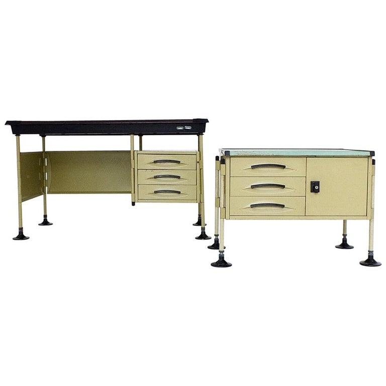 Spazio Desk and Side Desk by Bbpr Studio for Olivetti, Italy, 1962 For Sale