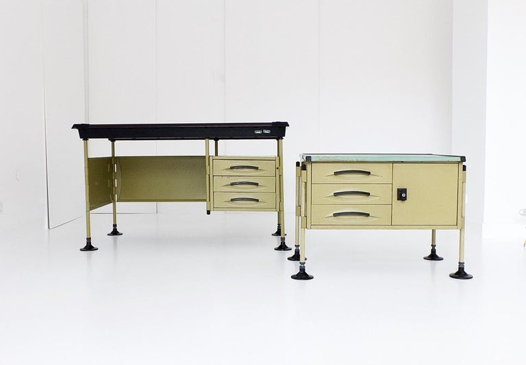 """A collectors set designed by the workshop of modernity: """"bbpr's (banfi, belgiojoso, peressutti and rogers)' spazio"""" desk and side desk.  The unique design of the whole 'spazio' system with detachable legs and adjustable feet shows bbpr's emphasis"""