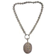 Special Antique Victorian Silver Chain Link Locket Pendant Necklace