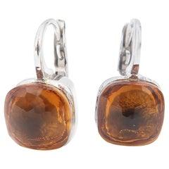 Special Cut Citrine Simple Lever Back White Gold Drop Earrings