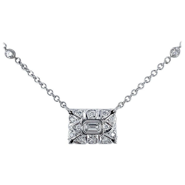 """""""Special Delivery"""" 0.50 Carat Diamond Envelope Necklace in 18 Karat White Gold For Sale"""
