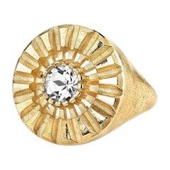 Special Edition 10 Karat White Topaz Signet Gear Ring