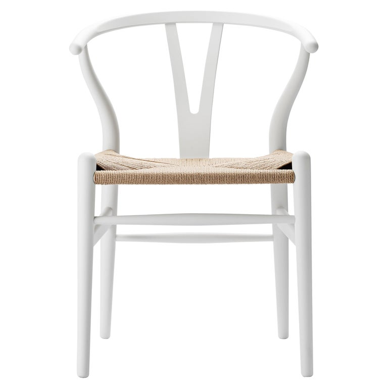 For Sale: White (Soft White) CH24 Wishbone Chair in Soft Colors by Hans J. Wegner