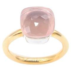 Special Faceted Rose Quartz Ring Plain 18 Karat Gold