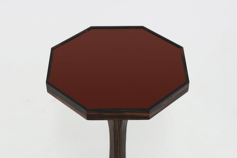 The Walton side table shown with leather top and faux rosewood pedestal base can be made to your custom specifications in finish as well as the top being covered or painted - all dimensions can be customized as well, available immediately as