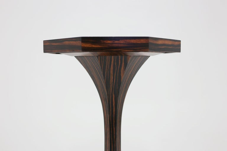 American Classical Special Faux Rosewood Pedestal with Octagonal Top Shown in Covered in Leather For Sale