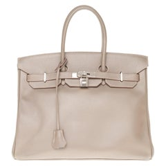 Special Hermès Birkin 35 handbag in Epsom Taupe and blue interior with PHW !