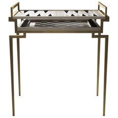 Special Listing Backgammon Chess Table Cream & Chital Breakfast Table B6 Celadon