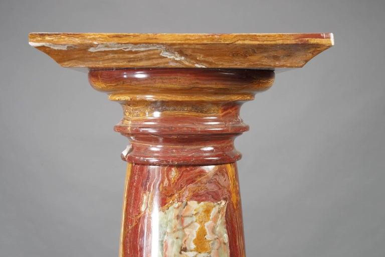 German Special Marble Column in Biedermeier Style, Red Onyx Marble For Sale