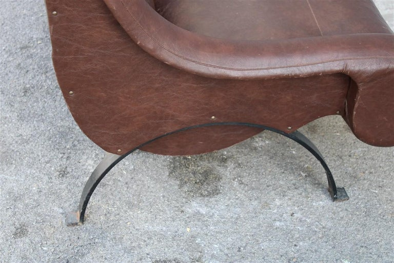 Special Midcentury Italian Design Armchair Faux Leather 1950s Metal Foot For Sale 6