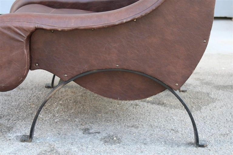 Special midcentury Italian design armchair faux leather 1950s metal foot.