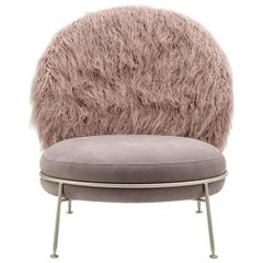 Special Price Display Armchair Greige Leather Faux Fur Champagne Satined Finish