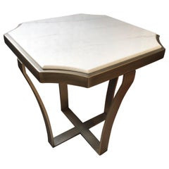 Special Price Display Coffe Table Metal Frame Distressed Paint Finish Top Marble